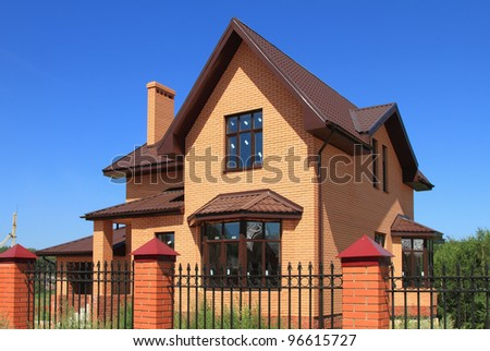 New cottage from brick - stock photo