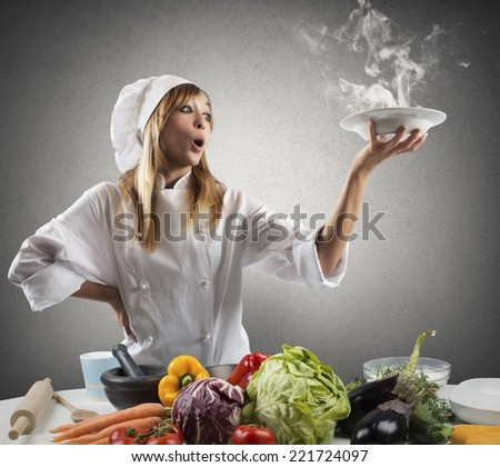 New creative recipe for a young chef - stock photo