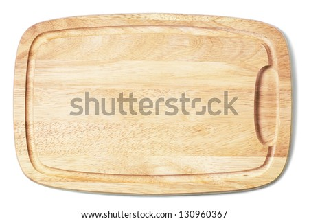 New cutting board used for cooking. Wood texture. - stock photo