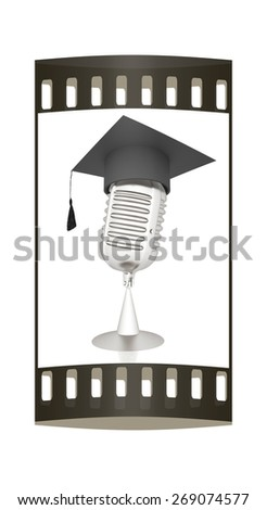 New 3d concept of education with microphone and graduation hat. The film strip - stock photo
