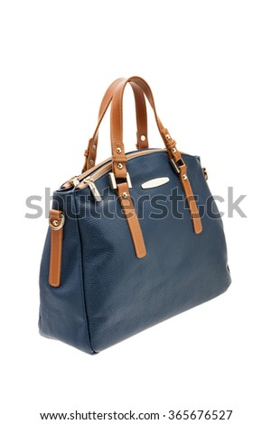 New dark blue womens bag isolated on white background. - stock photo
