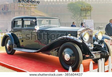New Delhi, India - February 6, 2016: Classic oldtimer Rolls Royce Phantom III 4-door sloon vintage car on display at Red Fort, New Delhi - stock photo