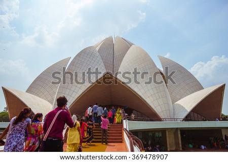 NEW DELHI, INDIA - SEPTEMBER 19: Lotus Temple on september 19, 2015. The The Bahai House (Lotus Temple) - temple for representatives of major religions of the world in New Delhi, India. - stock photo