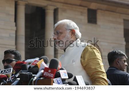 NEW DELHI-MAY 20:  Prime Minister Narendra Modi at Rashtrapati Bhavan during a press conference on May 20, 2014 in New Delhi , India.  - stock photo
