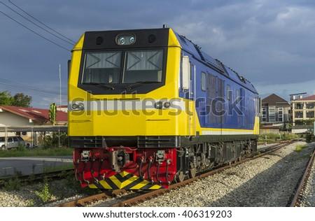 New diesel locomotive park - stock photo