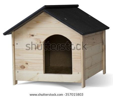 New doghouse isolated - stock photo