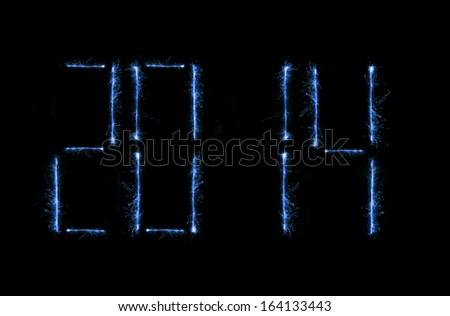 New editable shiny blue magick 2014 modern time clock - stock photo