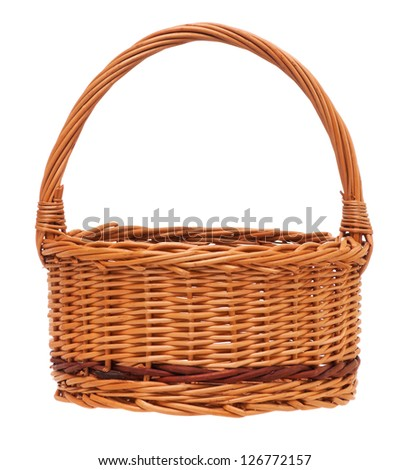 New empty wicker basket isolated on white background - stock photo