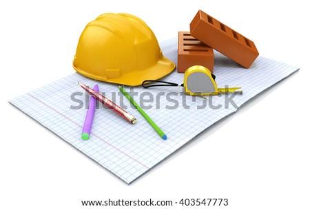 New engineering plan, construction helmet, stationery items and brick.3D Illustration - stock photo