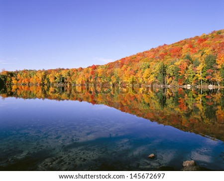 New England Pond in Autumn - stock photo