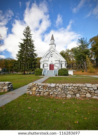New England white church during the Fall - stock photo