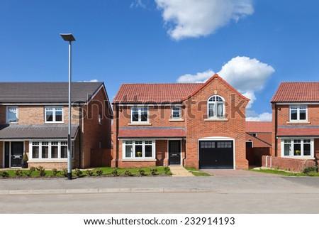 New english estate view - stock photo