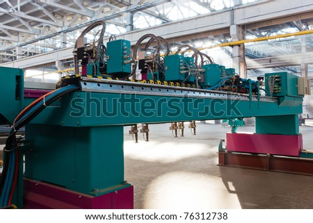 new equipment in the workshop at the modern factory - stock photo