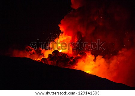 New eruption of Etna-2013 - stock photo