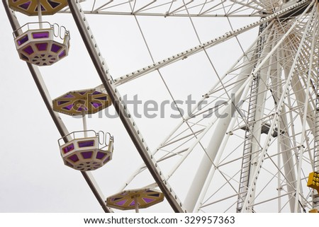 New Ferris Wheel in Wien on white background - stock photo