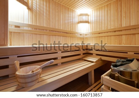 New Finland-style classic wooden sauna - stock photo