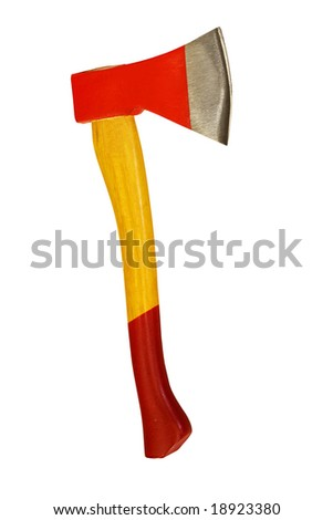 New fireman red axe isolated on white - stock photo