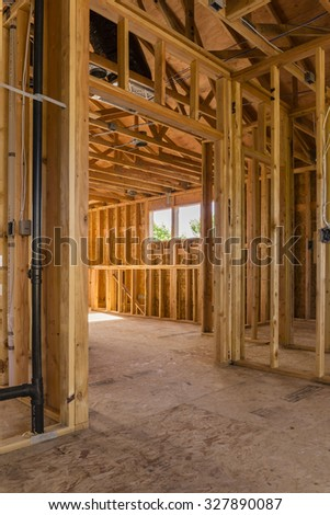 new frame house construction, window view - stock photo