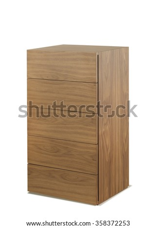 NEW FURNITURE LINE . MODERN DESIGN . STRAIGHT LINES . MATERIALS : WOOD . ITEMS : DRESSER - stock photo
