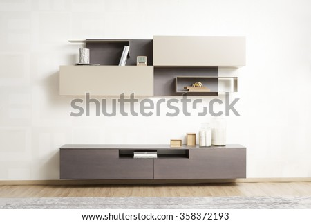 NEW FURNITURE LINE . MODERN DESIGN . STRAIGHT LINES . MATERIALS : WOOD , ITEMS : TV FURNITURE SET - stock photo