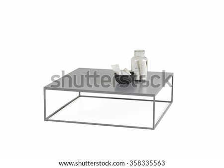 NEW FURNITURE LINE , MODERN DESIGN,  STRAIGHT LINES , MATERIALS : WOOD, METAL. ITEMS : RECTANGLE TABLE - stock photo