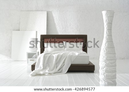 NEW FURNITURE LINE : STRAIGHT LINE BED DESIGN , MINIMAL DECORATION IN BIG WHITE ROOM .  - stock photo