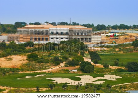 New golfing complex under construction in the Algarve region of Portugal - stock photo
