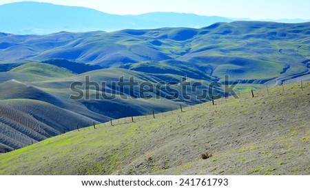 New grass in the foothills of the Southern Sierra Nevada Range are already beginning to green on this Kern County, California ranch.  - stock photo