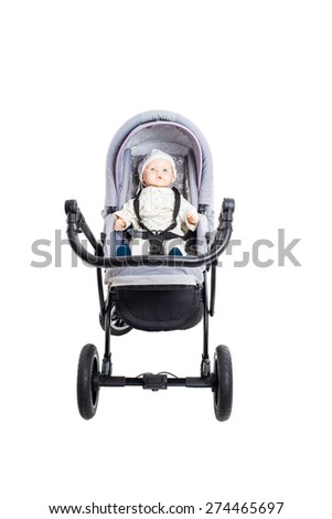 New gray modern pram with doll. Front view. Isolated on a white background. - stock photo