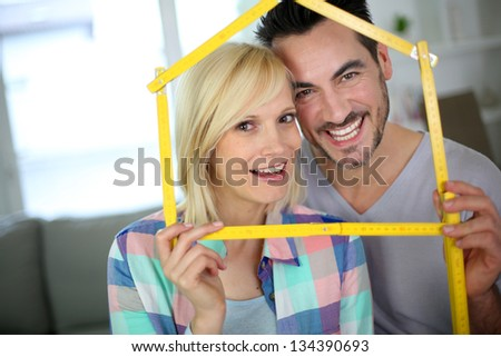 New happy property owners - stock photo
