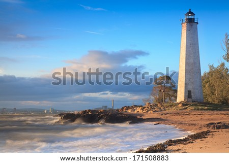 New Haven Lighthouse. CT - stock photo