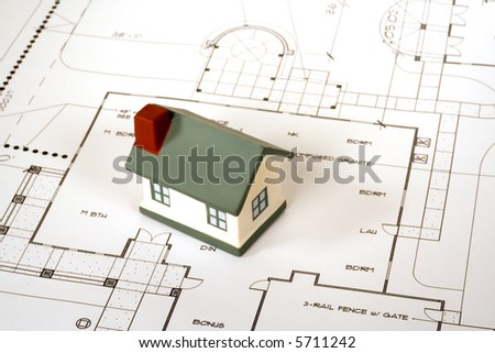 New Home blueprints - stock photo