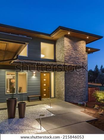 New Home Exterior at Night - stock photo