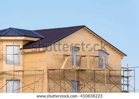 new home of the wooden parts to build - stock photo