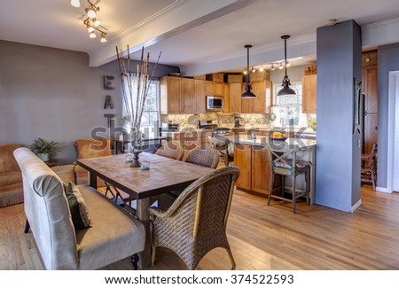 New home remodel with new kitchen and diningroom in eclectic style - stock photo