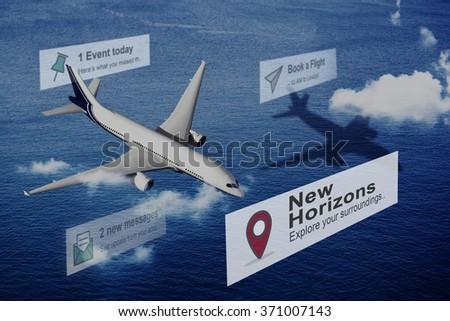 New Horizons Travel Explore Position COncept - stock photo
