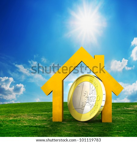 New house and one EURO coin on field. Conceptual, real estate - stock photo