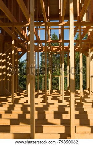 New house construction frame - stock photo