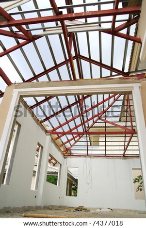New house interior underconstruction - stock photo