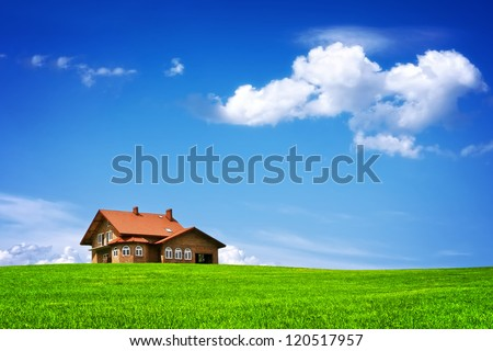 New house on blue sky - stock photo