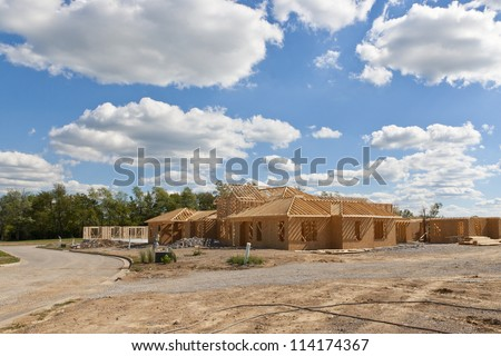 New house under construction - build your dream home. - stock photo