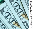 New hundred dollar bills close-up - stock photo