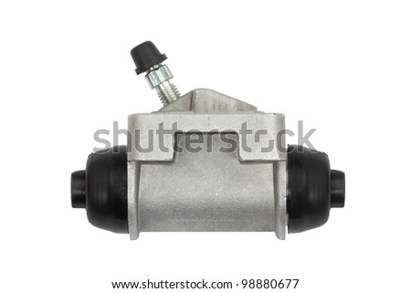 New hydraulic cylinder brake drum, isolated on a white background - stock photo