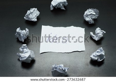 new idea concept with crumpled office paper - stock photo