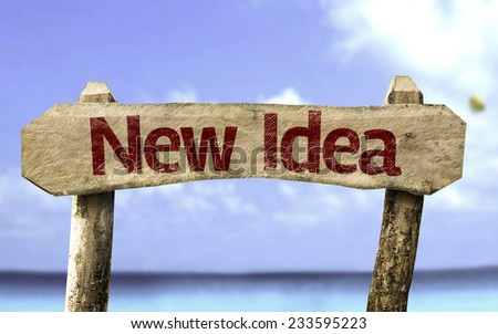 New Idea sign with a beach on background - stock photo