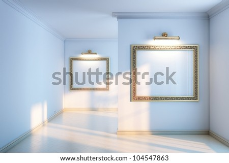 new interior gallery with wooden parquet and empty frames and lighters (grey color version) - stock photo