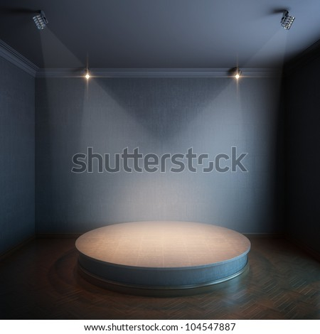 new interior with a round concrete podium and lighters (black painted walls version) - stock photo