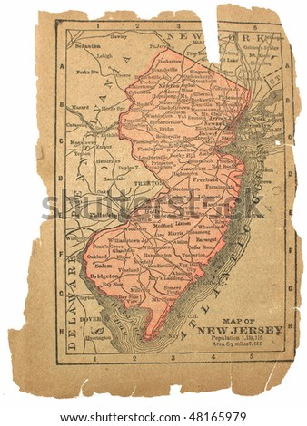 New Jersey circa 1880. See the entire map collection: http://www.shutterstock.com/sets/22217-maps.html?rid=70583 - stock photo