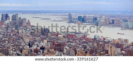 New Jersey panorama view from New York City Manhattan with Hudson River and skyscrapers. - stock photo