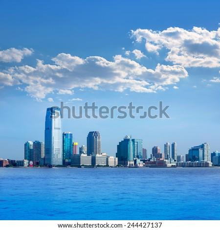New Jersey skyline from Hudson River NJ NY USA - stock photo